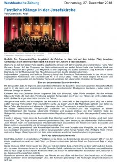 WZ: Festliche Klänge in der Josefskirche