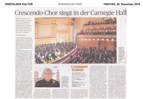 RP: Crescendo Chor singt in der Carnegie Hall