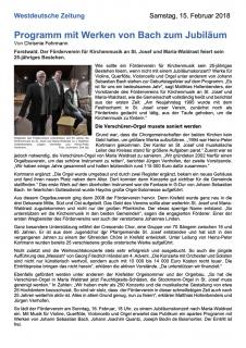 Westdeutsche Zeitung: Jubiläum 25 Jahre Förderverein