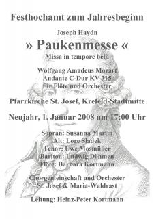 1. Januar 2008: Joseph Haydn, Paukenmesse